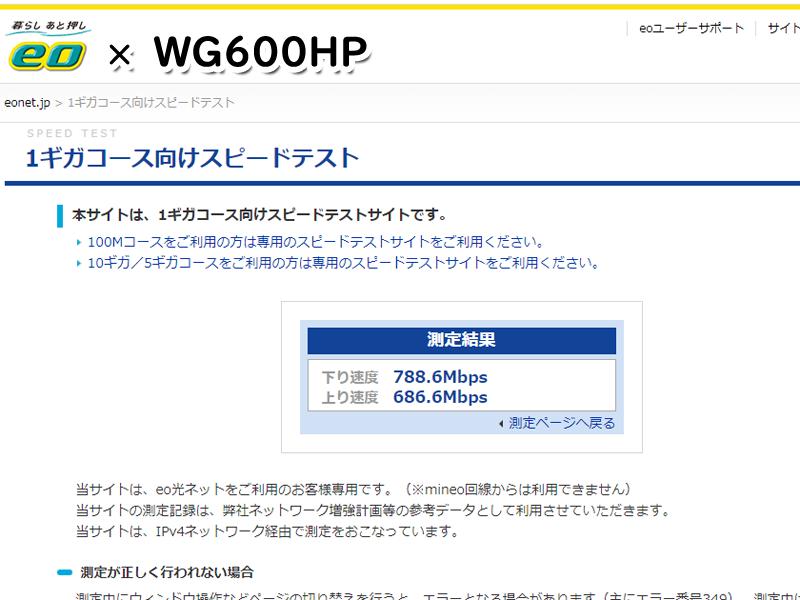eo光網内:Aterm WG600HPでの結果
