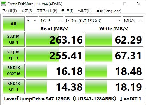 『JumpDrive S47 LJDS47-128ABBK』ベンチ